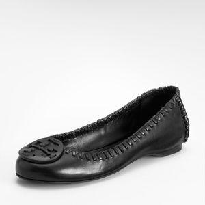 TORY BURCH Gabi Black Leather Ballerina Flats
